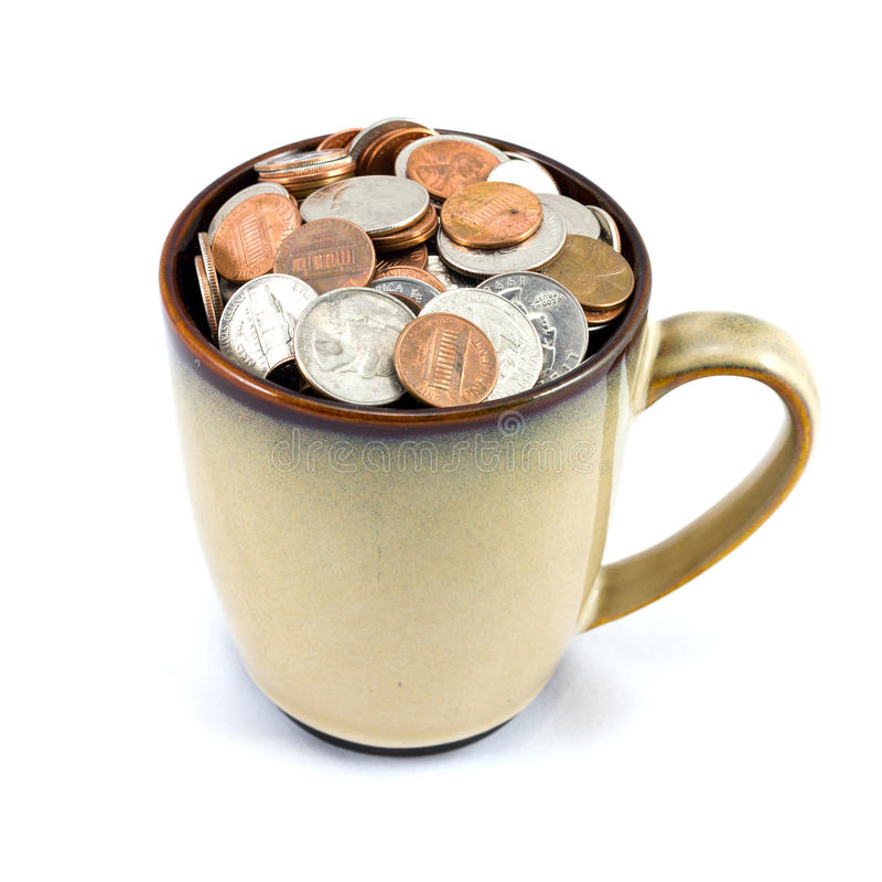 Φλυτζάνι των νομισμάτων στοκ εικόνα με δικαίωμα ελεύθερης χρήσης