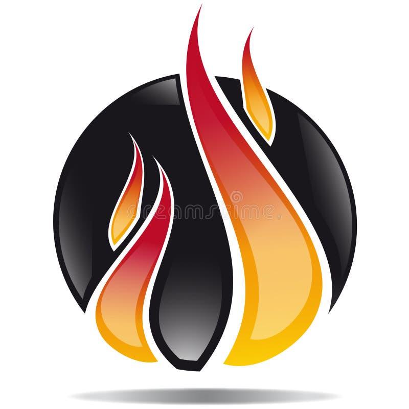 Φλόγα εικονιδίων στο μαύρο υπόβαθρο ελεύθερη απεικόνιση δικαιώματος