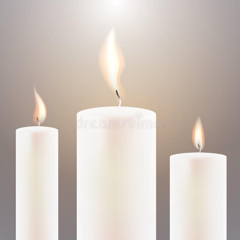 Φλόγα τριών κεριών απεικόνιση αποθεμάτων