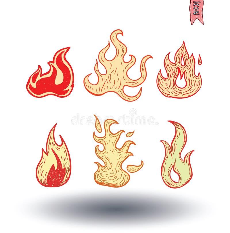 Φλόγες πυρκαγιάς, καθορισμένα εικονίδια, διανυσματική απεικόνιση ελεύθερη απεικόνιση δικαιώματος