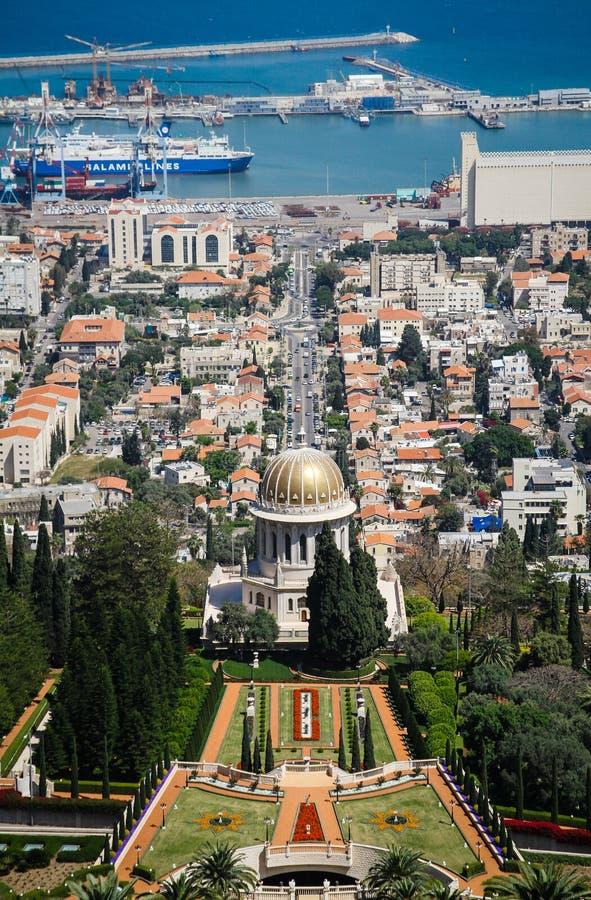 Χάιφα - πανοραμική άποψη με το ναό και το λιμένα στοκ φωτογραφίες