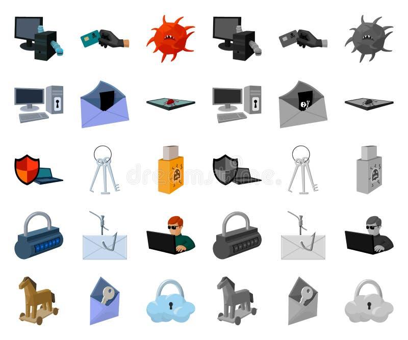 Χάκερ και κινούμενα σχέδια χάραξης, μονο εικονίδια στην καθορισμένη συλλογή για το σχέδιο Διανυσματικός Ιστός αποθεμάτων συμβόλων διανυσματική απεικόνιση