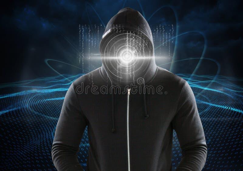 Χάκερ με έναν ψηφιακό κύκλο στο πρόσωπό του μπροστά από το ψηφιακό μπλε υπόβαθρο στοκ φωτογραφίες με δικαίωμα ελεύθερης χρήσης