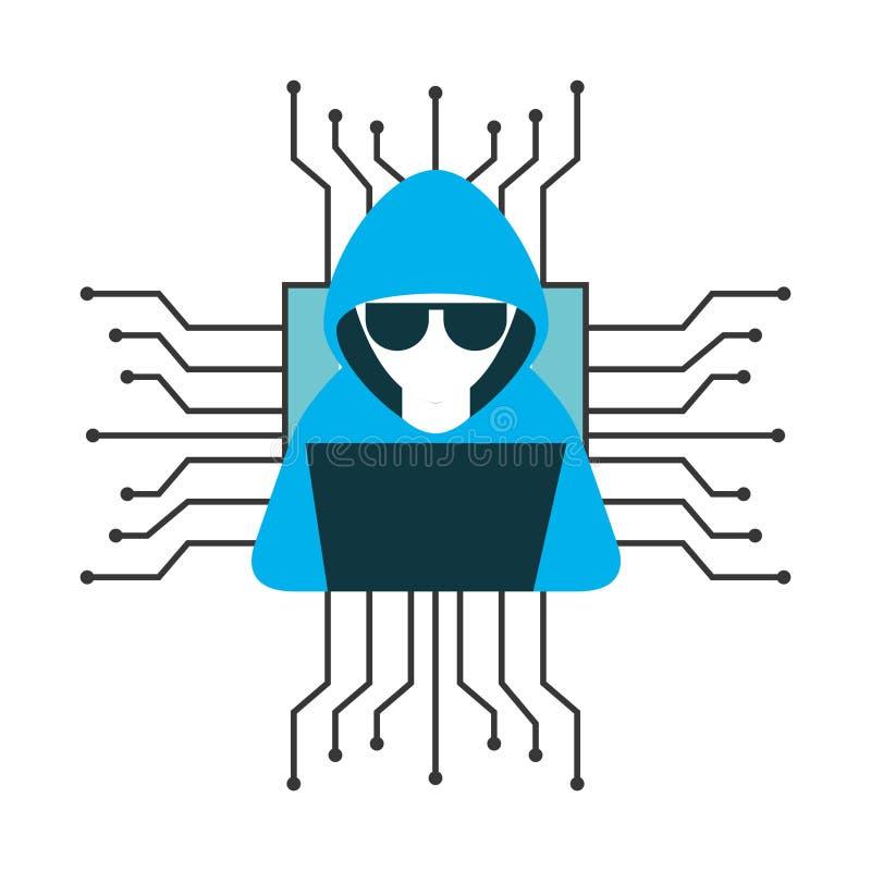 Χάκερ με απομονωμένο το φορητός προσωπικός υπολογιστής εικονίδιο διανυσματική απεικόνιση