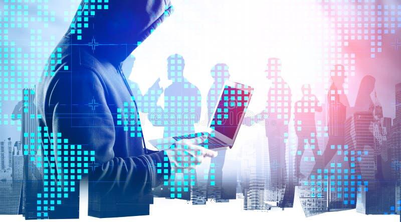 Χάκερ που κλέβει δεδομένα από επιχειρηματίες στοκ εικόνες