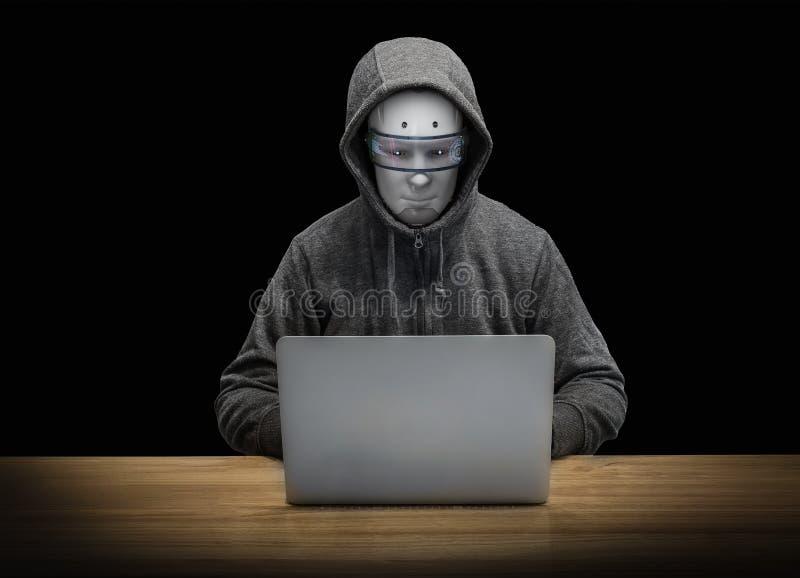 Χάκερ ρομπότ που εργάζεται με το σημειωματάριο υπολογιστών διανυσματική απεικόνιση