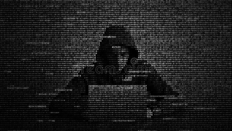 Χάκερ στην έννοια ασφαλείας δεδομένων Χάκερ που χρησιμοποιεί το lap-top Χάραξη του Διαδικτύου Επίθεση Cyber ελεύθερη απεικόνιση δικαιώματος
