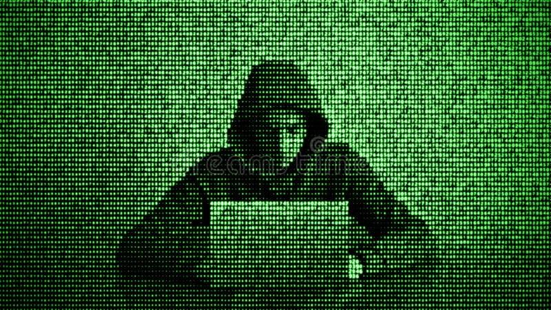 Χάκερ στην έννοια ασφαλείας δεδομένων Χάκερ που χρησιμοποιεί το lap-top Χάραξη του Διαδικτύου Επίθεση Cyber διανυσματική απεικόνιση
