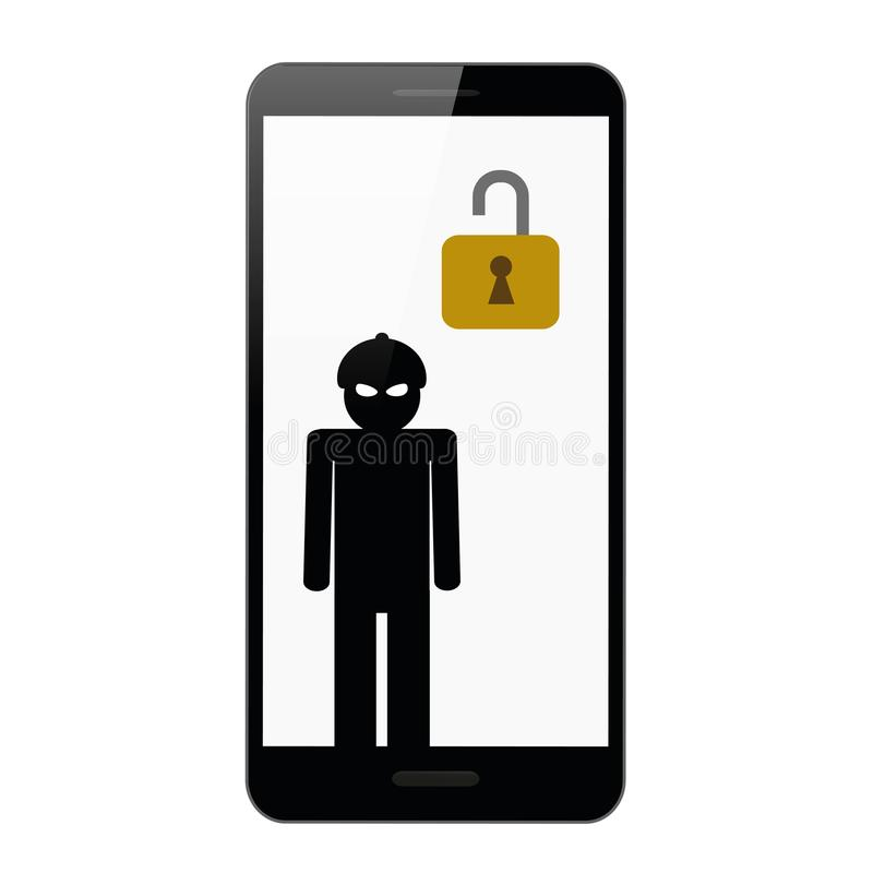 Χάκερ στη μάσκα μέσα στο smartphone διανυσματική απεικόνιση
