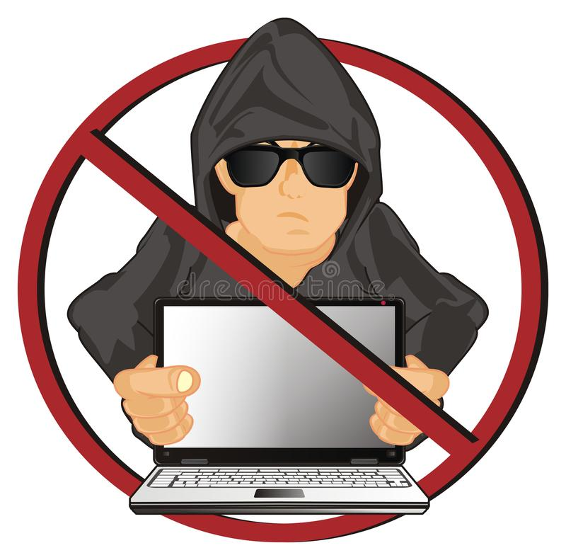 Χάκερ στη στρογγυλή κόκκινη απαγόρευση απεικόνιση αποθεμάτων