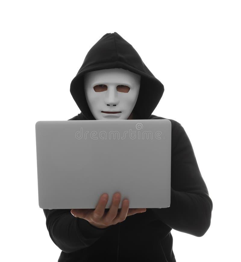 Χάκερ υπολογιστών με το lap-top στοκ εικόνες με δικαίωμα ελεύθερης χρήσης