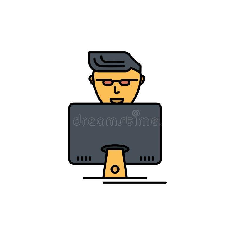 Χάκερ, χρήστης, Gamer, επίπεδο εικονίδιο χρώματος προγραμματιστών Διανυσματικό πρότυπο εμβλημάτων εικονιδίων ελεύθερη απεικόνιση δικαιώματος