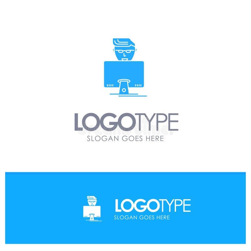 Χάκερ, χρήστης, Gamer, μπλε στερεό λογότυπο προγραμματιστών με τη θέση για το tagline ελεύθερη απεικόνιση δικαιώματος