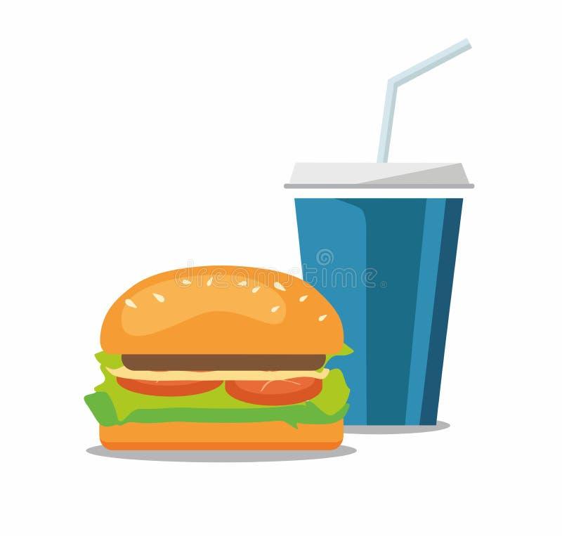 Χάμπουργκερ και λαϊκό cheeseburger σόδας κοκ Γρήγορο φαγητό στο λευκό διανυσματική απεικόνιση