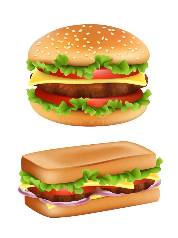 Χάμπουργκερ και σάντουιτς Ρεαλιστικό ψωμί γρήγορου φαγητού τη διανυσματική εικόνα πατατών γεύματος ντοματών σαλάτας συστατικών πο ελεύθερη απεικόνιση δικαιώματος