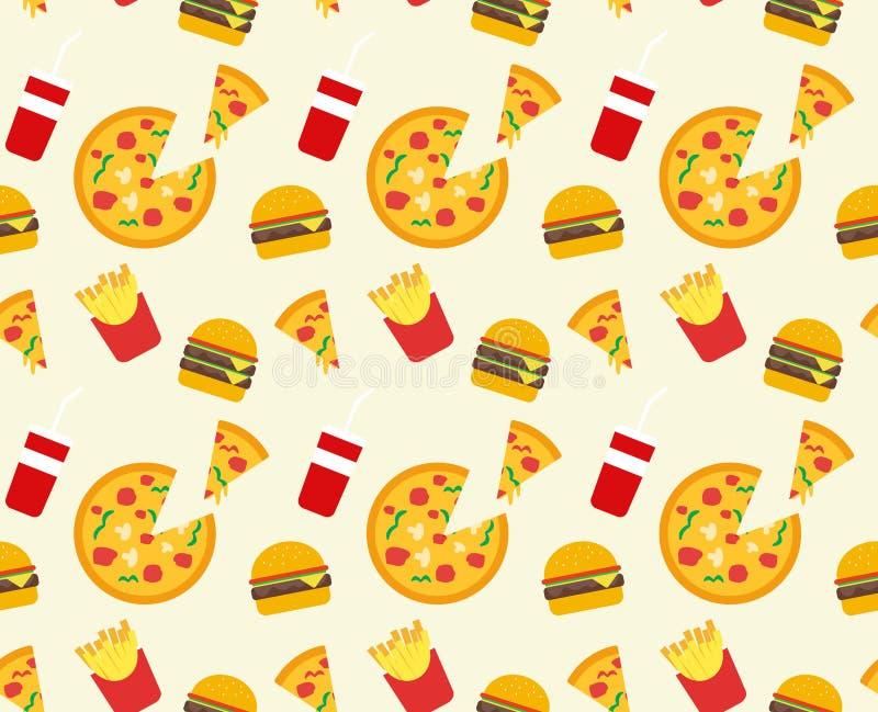 Χάμπουργκερ, πίτσα, τηγανητά και υπόβαθρο σχεδίων ποτών στοκ φωτογραφία