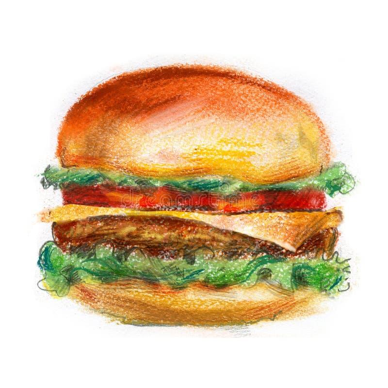 Χάμπουργκερ, burger σε ένα άσπρο υπόβαθρο Γρήγορο φαγητό διανυσματική απεικόνιση