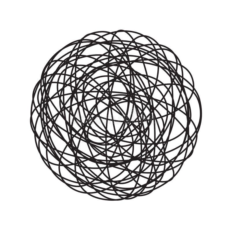 Χάους σύγχυσης κύκλων doodle διανυσματικό εικονίδιο σφαιρών νημάτων γραμμών χαοτικό μπλεγμένο διανυσματική απεικόνιση