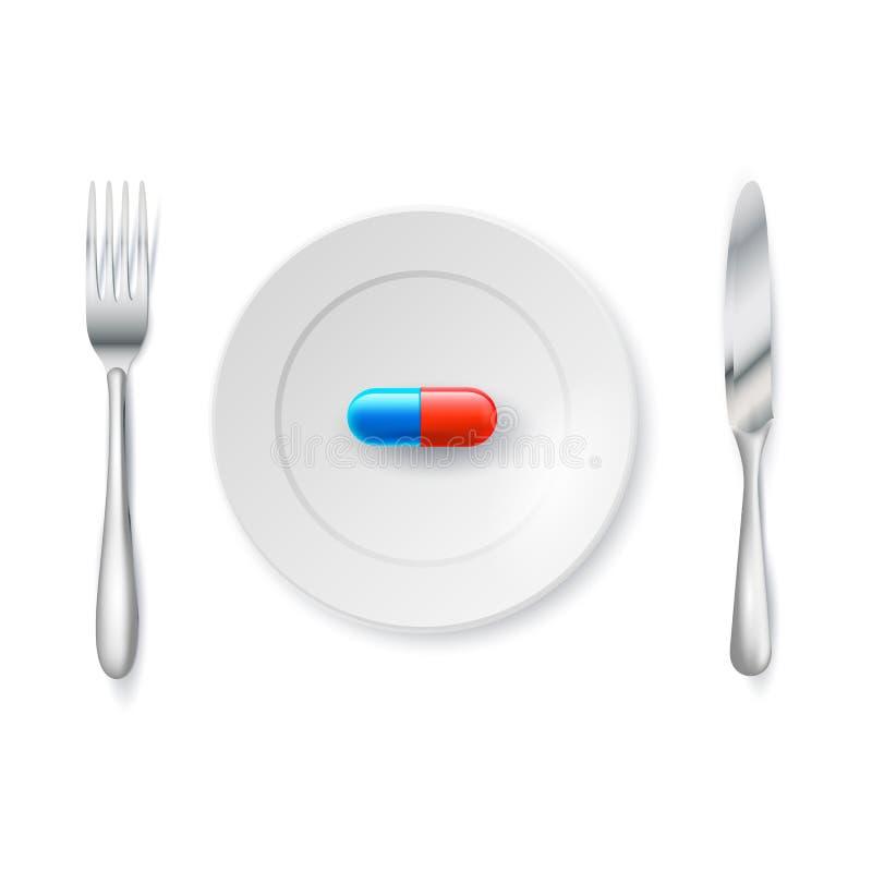 Χάπια ή κάψες σε ένα πιάτο με ένα δίκρανο και ένα μαχαίρι διανυσματική ρεαλιστική απεικόνιση η ανασκόπηση απομόνωσε το λευκό Συντ ελεύθερη απεικόνιση δικαιώματος