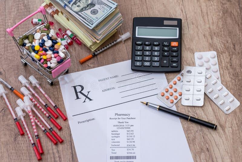 Χάπια, ινσουλίνη συρίγγων χρημάτων Rx στοκ εικόνα με δικαίωμα ελεύθερης χρήσης