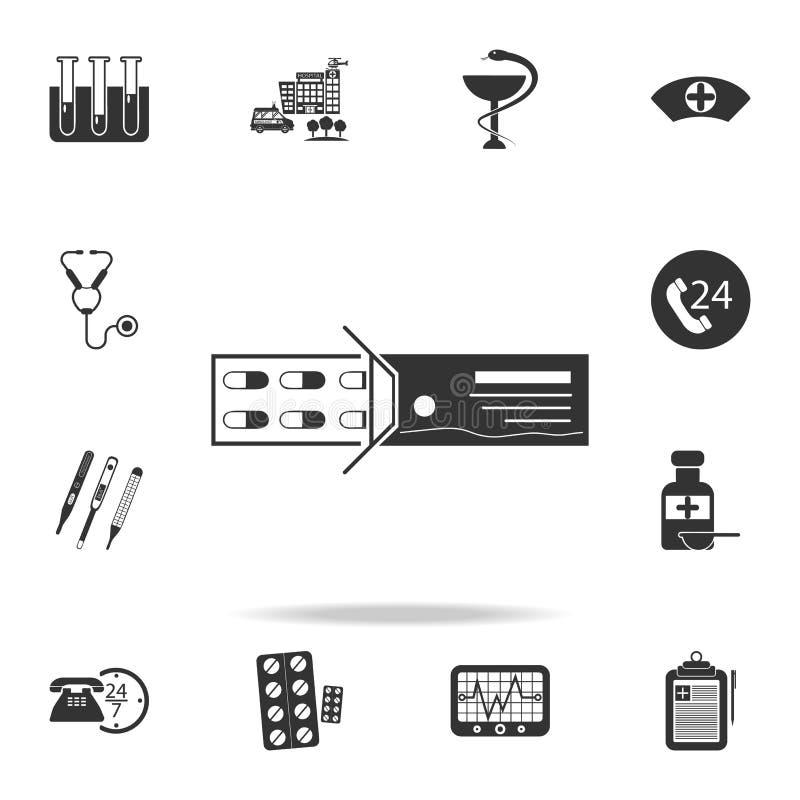χάπια και εικονίδιο συσκευασίας Λεπτομερές σύνολο απεικόνισης στοιχείων ιατρικής Γραφικό σχέδιο εξαιρετικής ποιότητας Ένα από τα  διανυσματική απεικόνιση