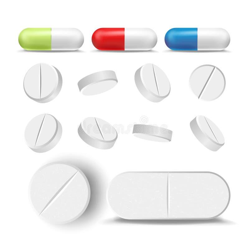 Χάπια και φάρμακα καψών καθορισμένα διανυσματικά Φαρμακευτικές φάρμακα και βιταμίνη Απομονωμένος στην άσπρη απεικόνιση απεικόνιση αποθεμάτων