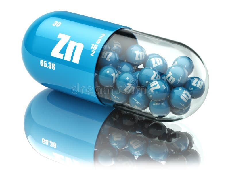 Χάπια με τα διαιτητικά συμπληρώματα στοιχείων ZN ψευδάργυρου Κάψες βιταμινών διανυσματική απεικόνιση