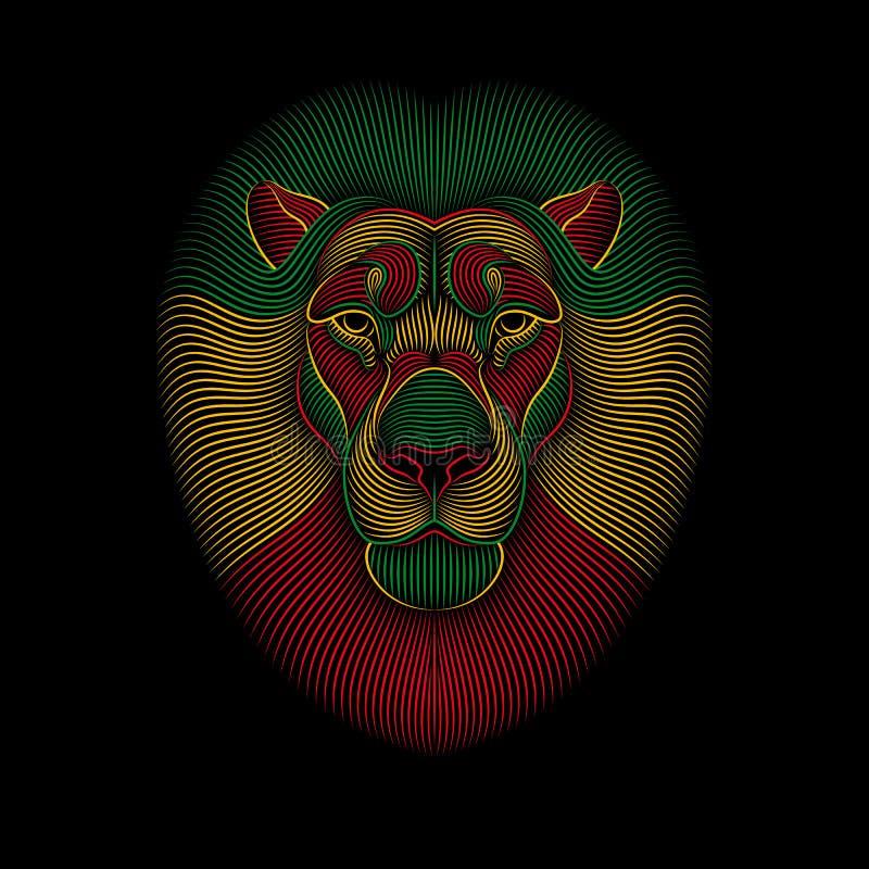 Χάραξη του τυποποιημένου λιονταριού rasta στο μαύρο υπόβαθρο ελεύθερη απεικόνιση δικαιώματος