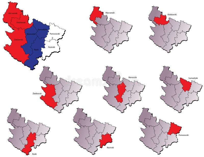 Χάρτες επαρχιών της Σερβίας διανυσματική απεικόνιση
