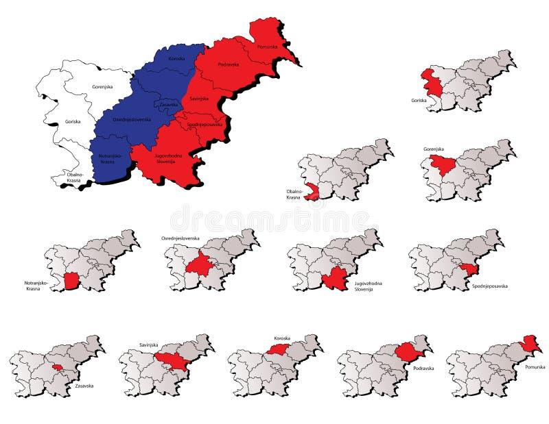 Χάρτες επαρχιών της Σλοβενίας ελεύθερη απεικόνιση δικαιώματος