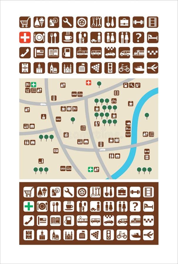 Χάρτες πόλεων, εικονίδια ελεύθερη απεικόνιση δικαιώματος