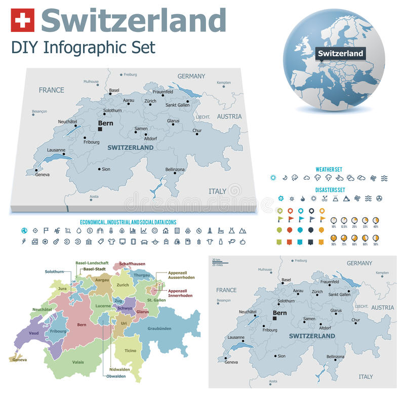 Χάρτες της Ελβετίας με τους δείκτες απεικόνιση αποθεμάτων