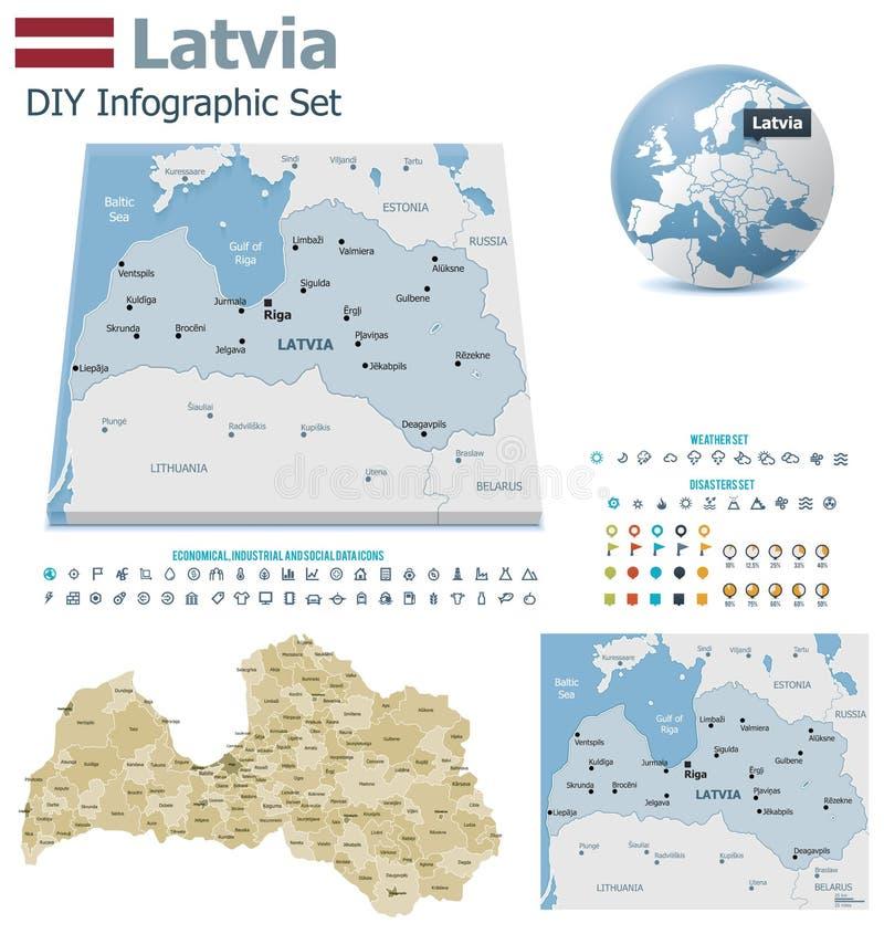 Χάρτες της Λετονίας με τους δείκτες ελεύθερη απεικόνιση δικαιώματος