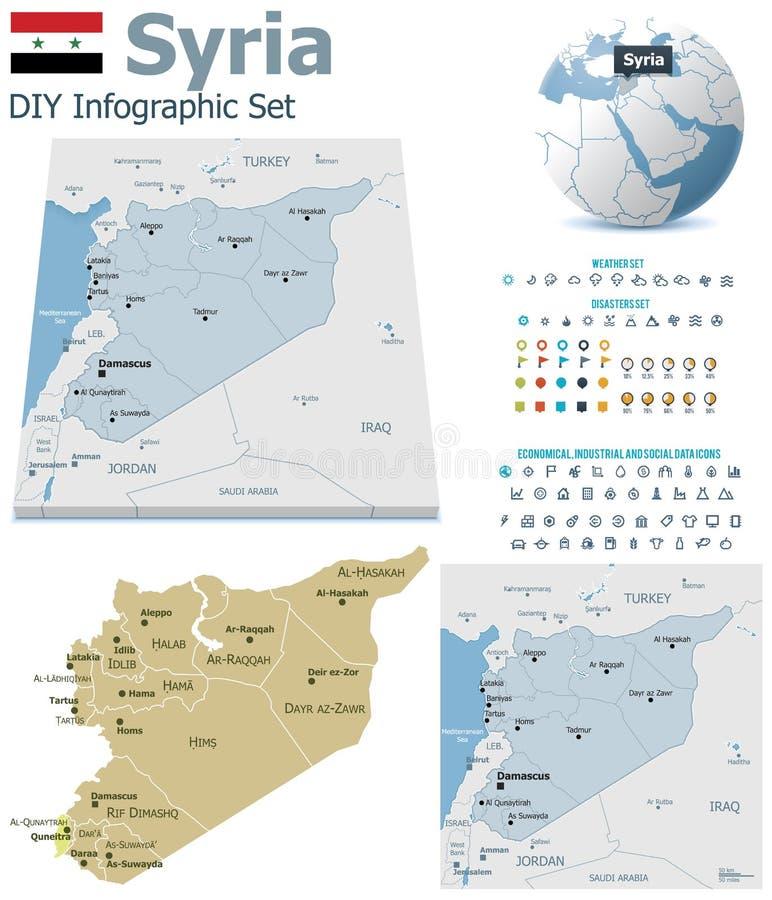 Χάρτες της Συρίας με τους δείκτες ελεύθερη απεικόνιση δικαιώματος