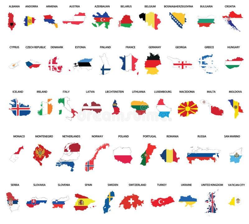 Χάρτες χωρών της Ευρώπης απεικόνιση αποθεμάτων