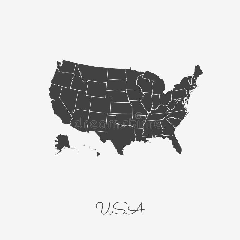 Χάρτης ΑΜΕΡΙΚΑΝΙΚΩΝ περιοχών: γκρίζα περίληψη στο άσπρο υπόβαθρο διανυσματική απεικόνιση