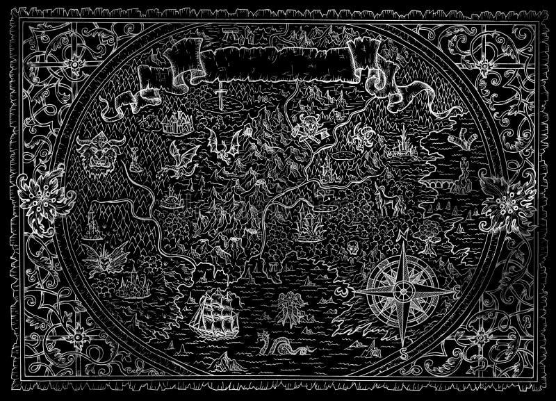 Χάρτης ατλάντων φαντασίας με το άγνωστο έδαφος, πυξίδα, σκάφος πειρατών, έμβλημα σύντομων χρονογραφημάτων στο Μαύρο απεικόνιση αποθεμάτων
