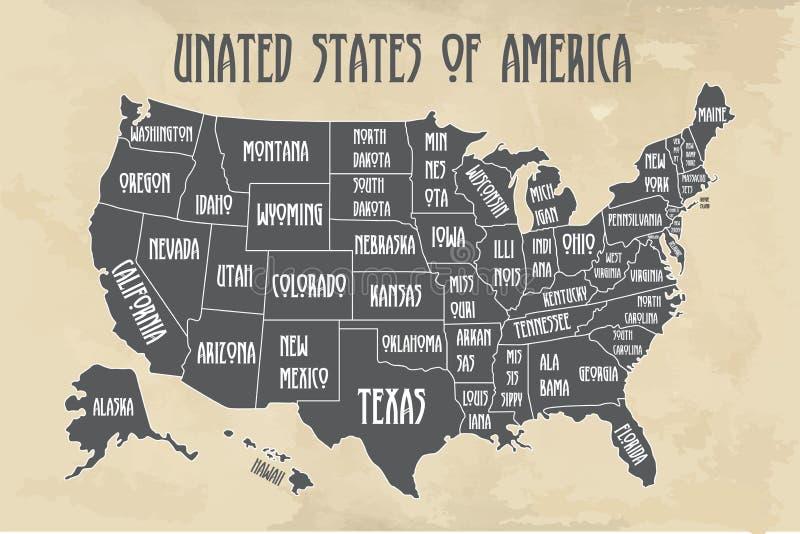 Χάρτης αφισών των Ηνωμένων Πολιτειών της Αμερικής με τα κρατικά ονόματα Γραπτός χάρτης τυπωμένων υλών των ΗΠΑ για την μπλούζα, αφ διανυσματική απεικόνιση