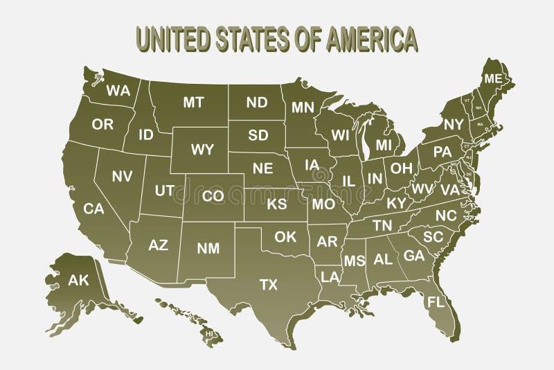 Χάρτης αφισών των Ηνωμένων Πολιτειών της Αμερικής με το κράτος στο άσπρο υπόβαθρο Χάρτης τυπωμένων υλών των ΗΠΑ για την μπλούζα,  διανυσματική απεικόνιση