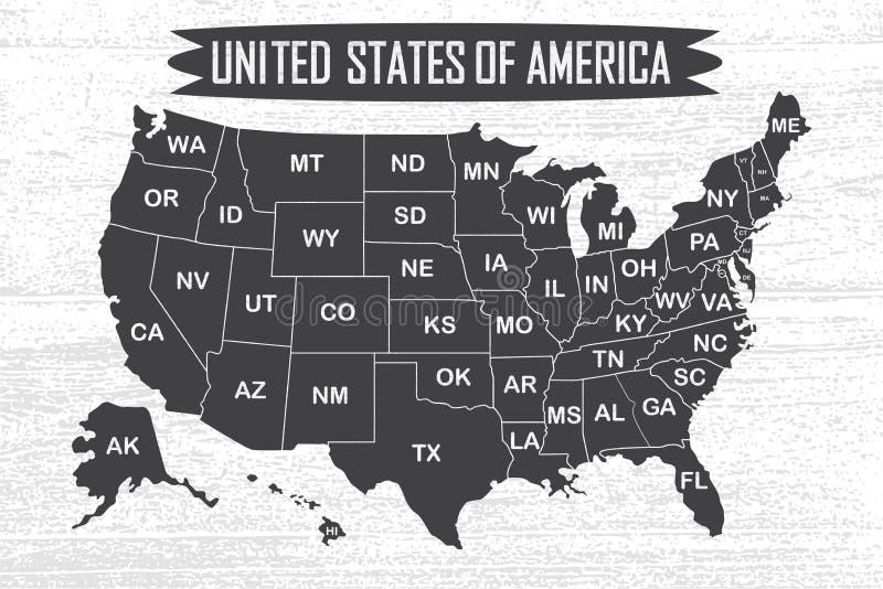 Χάρτης αφισών των Ηνωμένων Πολιτειών της Αμερικής με τα κρατικά ονόματα διανυσματική απεικόνιση