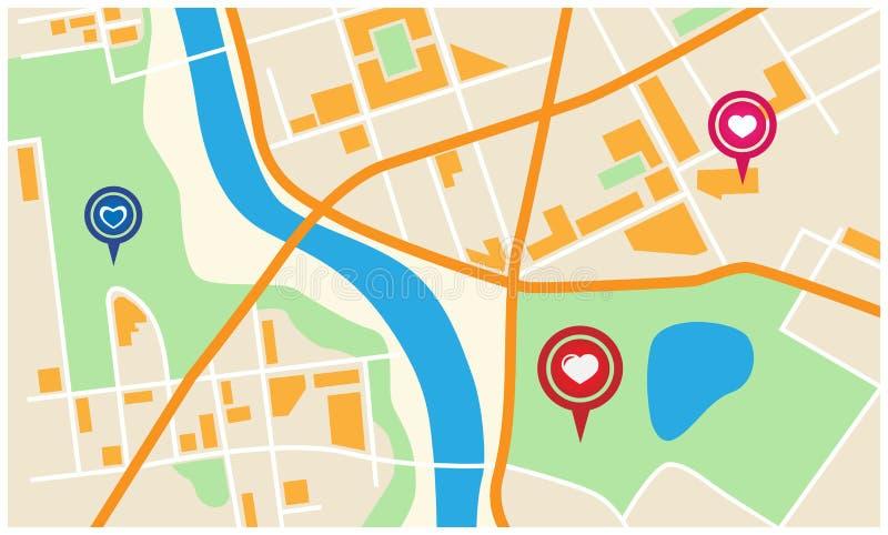 Χάρτης βαλεντίνων πόλεων διανυσματική απεικόνιση