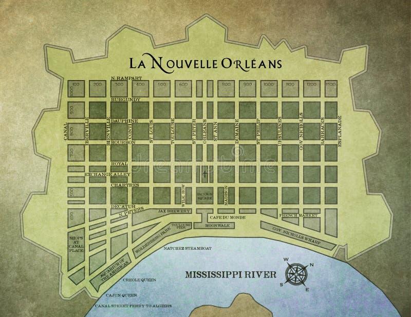 Χάρτης γαλλικών συνοικιών της Νέας Ορλεάνης στοκ εικόνες με δικαίωμα ελεύθερης χρήσης