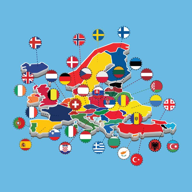 Χάρτης διανυσματικής απεικόνισης σημαιών της δυτικής Ευρώπης της Isometric απεικόνιση αποθεμάτων
