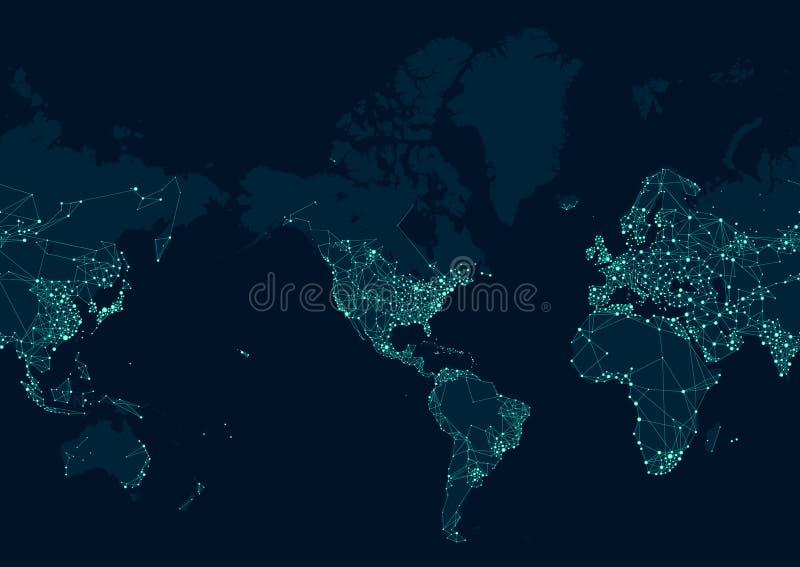 Χάρτης δικτύων επικοινωνιών του κόσμου, που κεντροθετείται στην αμερικανική ήπειρο διανυσματική απεικόνιση