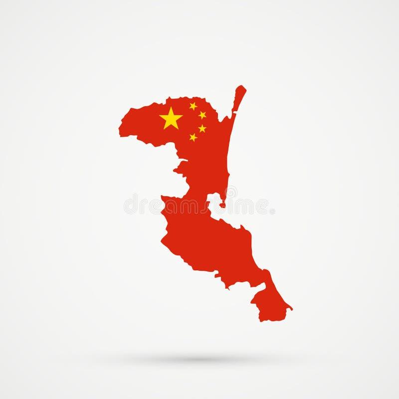 Χάρτης εθνικών εδαφών Kumyks Kumykia, Νταγκεστάν στα χρώματα σημαιών της Κίνας, editable διάνυσμα απεικόνιση αποθεμάτων