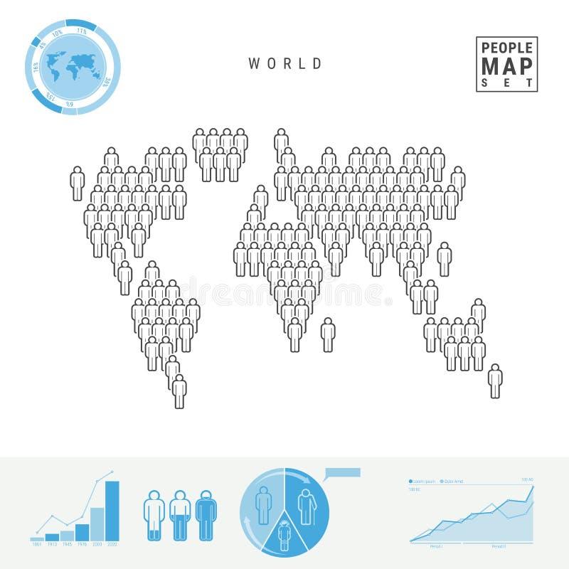 Χάρτης εικονιδίων παγκόσμιων ανθρώπων Τυποποιημένη διανυσματική σκιαγραφία του κόσμου Στοιχεία πληθυσμιακής αύξησης και γήρανσης  διανυσματική απεικόνιση