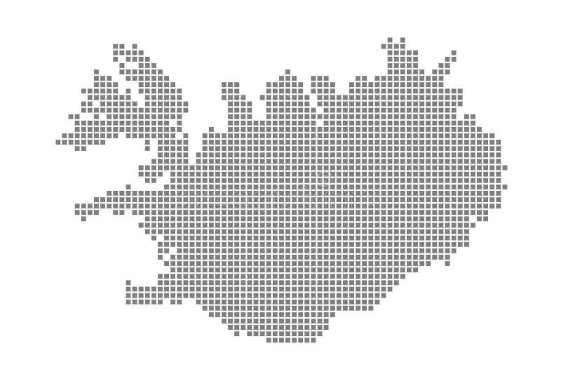 Χάρτης εικονοκυττάρου της Ισλανδίας Διαστιγμένος διάνυσμα χάρτης της Ισλανδίας που απομονώνεται στο άσπρο υπόβαθρο Αφηρημένος υπο διανυσματική απεικόνιση