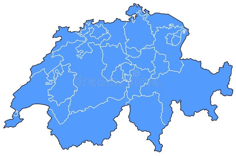 χάρτης Ελβετία διανυσματική απεικόνιση