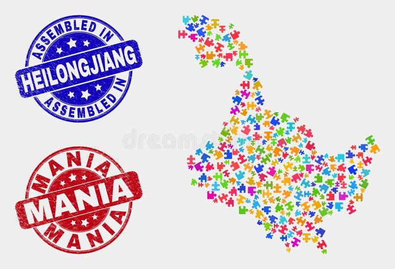 Χάρτης επαρχιών συστατικού Heilongjiang και Grunge που συγκεντρώνονται και γραμματόσημα μανίας ελεύθερη απεικόνιση δικαιώματος