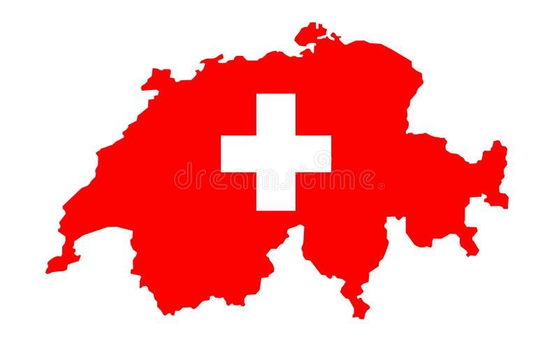 χάρτης Ελβετία σημαιών διανυσματική απεικόνιση